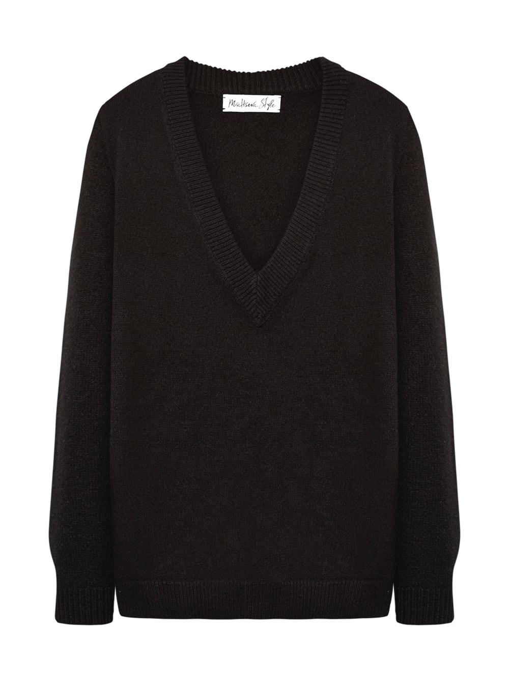 картинка V-NECK SWEATER BLACK - Maltseva Style