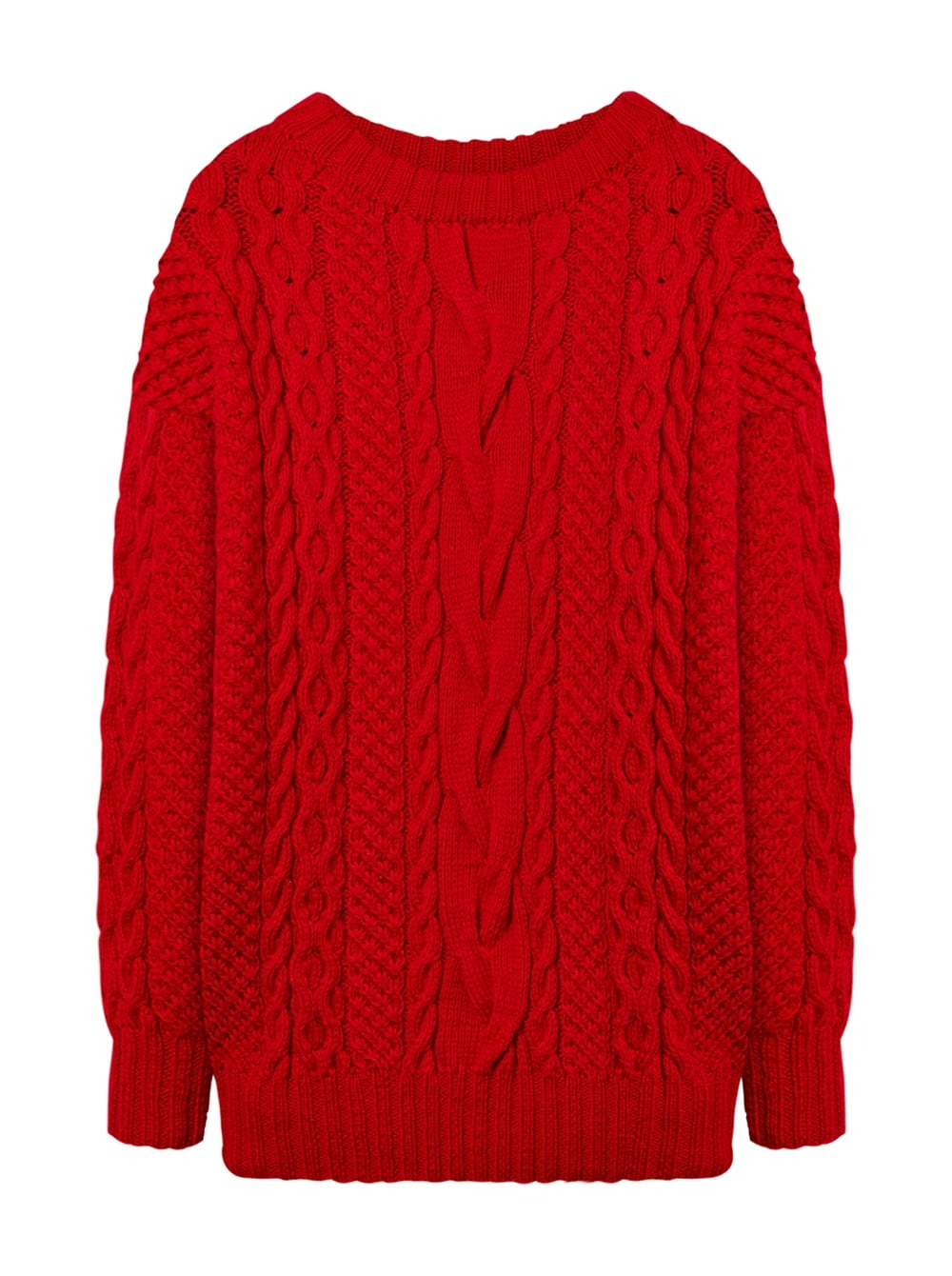 картинка CABLE KNIT SWEATER RED - Maltseva Style
