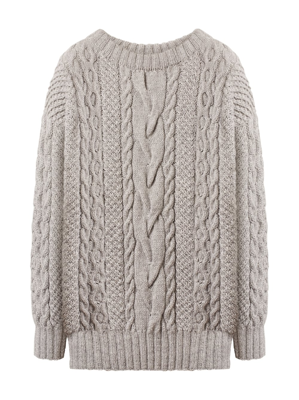 картинка CABLE KNIT SWEATER GREY - Maltseva Style